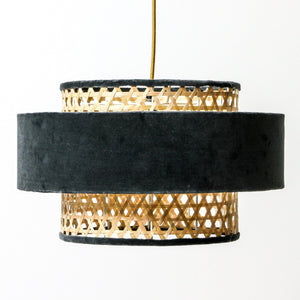 Velvet Rattan Mid Century Hanging Pendant Light | Lighting Collective