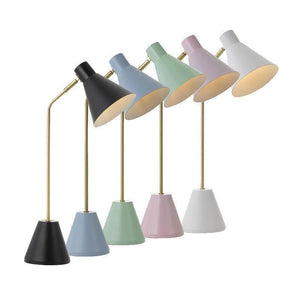 Scandinavian Pastel & Brass Table Lamp | Assorted Colours