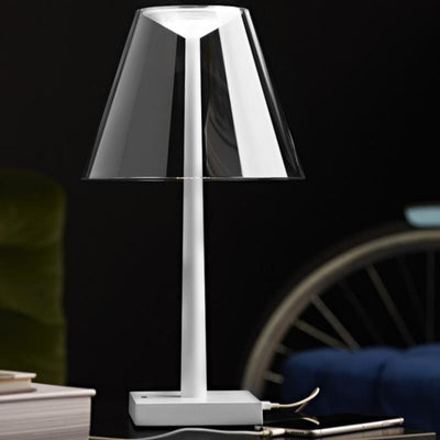 Minimalist Portable Table Lamp with Clear Shade and White Base - Lighting Collective