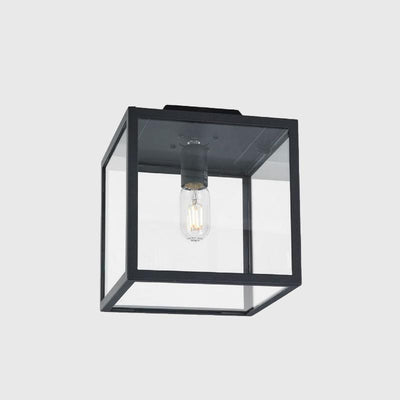 Glass Cubic Exterior Single Ceiling Light