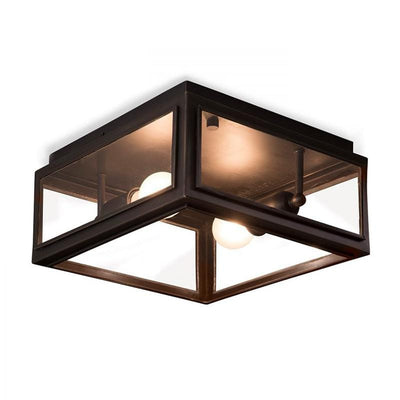 Traditional Aged Bronze Ceiling Light clear glass