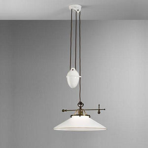 Venetian Frosted Glass Rise & Fall Pendant Light Collection-Pendants-IL FANALE (Lightco)-Lighting Collective