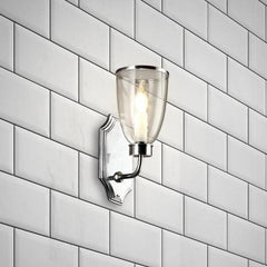 Classic Brass Wall Light with Glass Shade - Bathroom