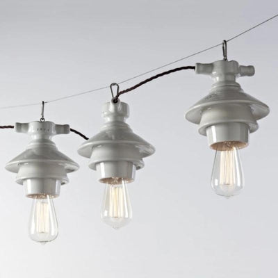 Italian Industrial White Suspended Light - Lighting Collective