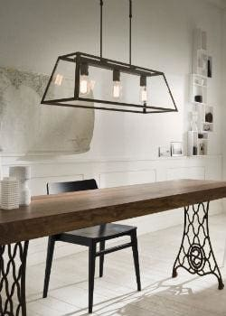 Tapered Bench Lantern Over Dining Table | Lighting Collective