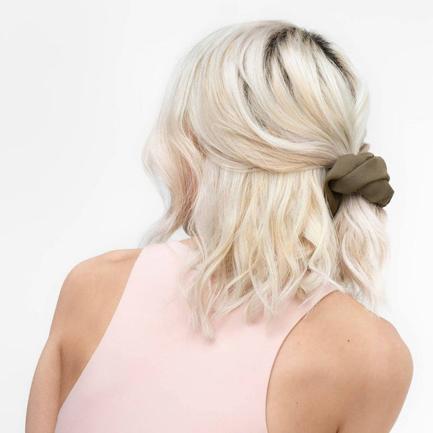 Kitsch Crepe Scrunchie Set in Moss