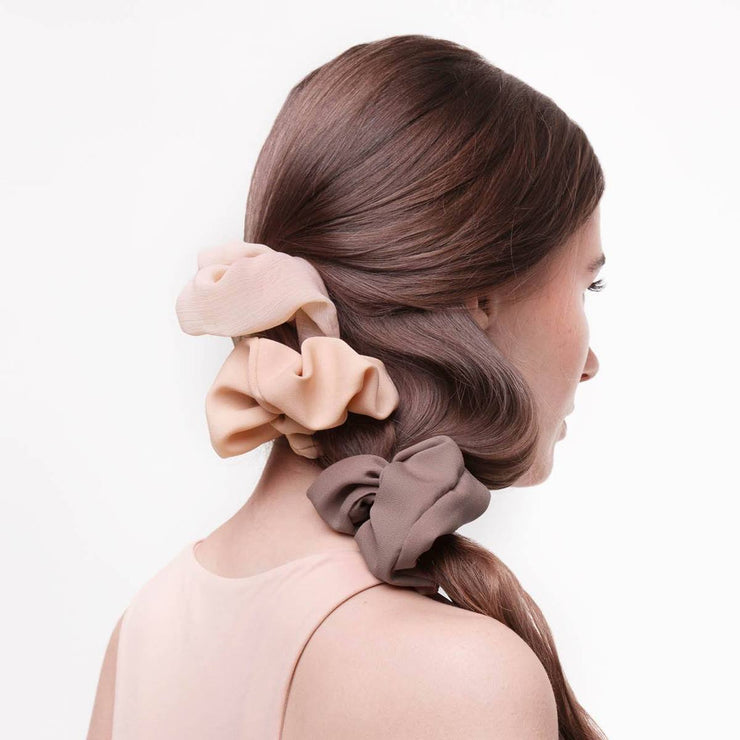 Kitsch Crepe Scrunchie Set in Terra Cotta