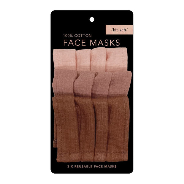 Kitsch Cotton Face Mask in Dusty Rose- 3 Piece Set