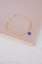May Martin Link Chain With Evil Eye And Coin Bracelet