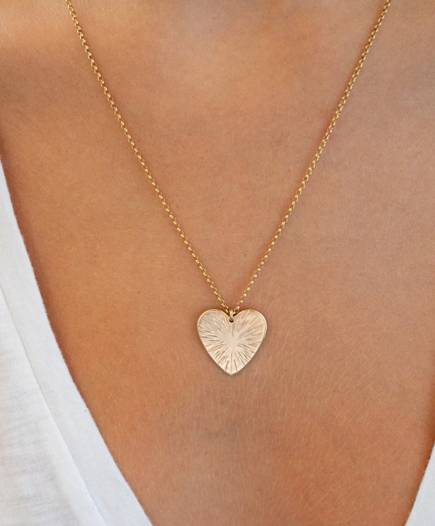 Paradigm Sunburst Small Heart Necklace