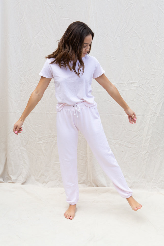 Perfect White Tee Freddie Joggers in Rose Quartz