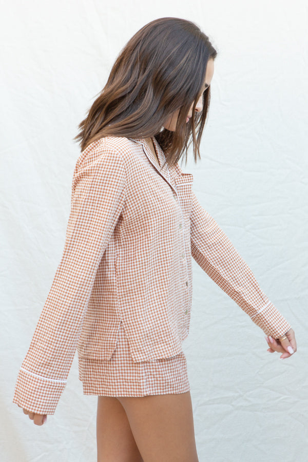 Summit + Peak Lydie Gingham Pj Set In Rust