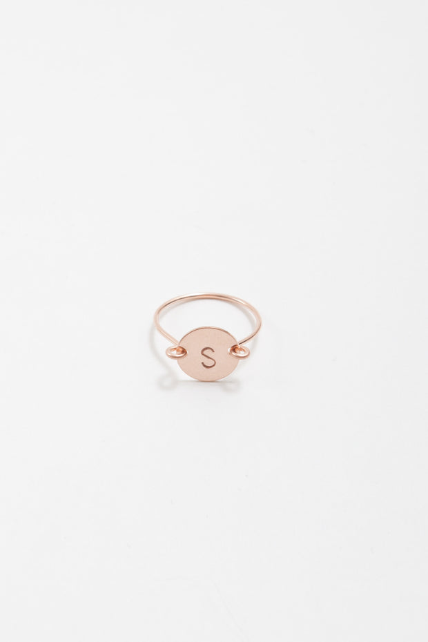 Circle Initial Ring in Rose Gold