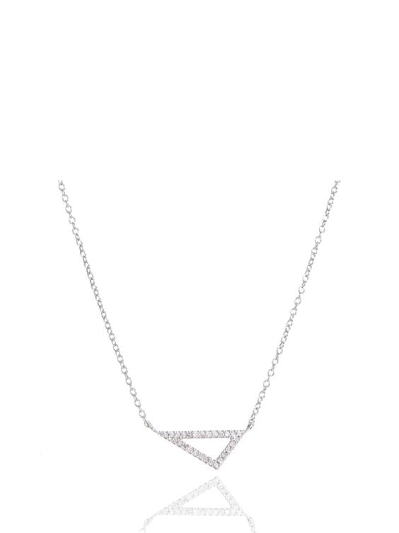 Adina Reyter Tiny Pave Diamond Right Angle Necklace