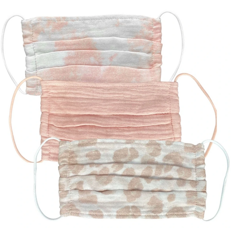 Kitsch Cotton Face Mask in Blush-3 Piece Set