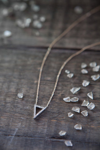 Adina Reyter Tiny Pave Diamond Open Triangle Necklace
