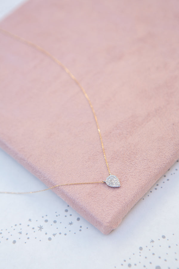 Adina Reyter Solid Pavé Teardrop Necklace