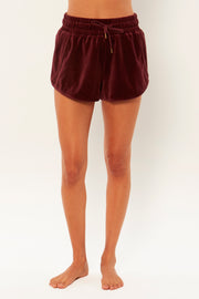 Amuse Society Farrah Velour Short in Mulberry