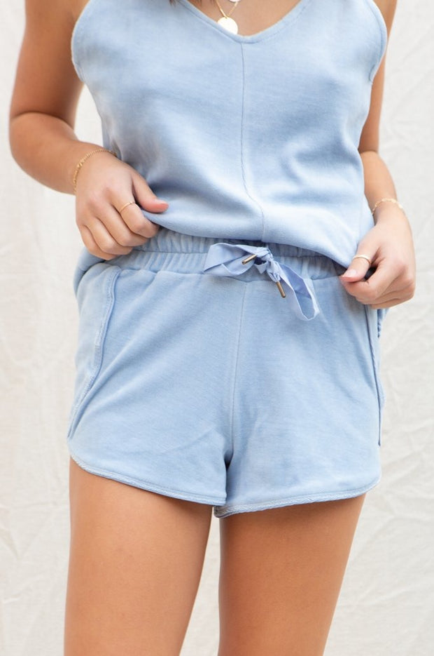 Amuse Society Farrah Velour Short in Dusty Blue