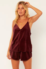 Amuse Society Zoe Velour Tank in Mulberry