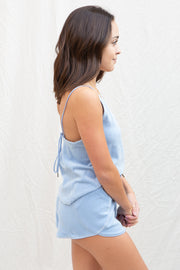 Amuse Society Zoe Velour Tank in Dusty Blue