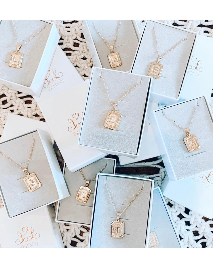 Bracha Initial Card Necklace