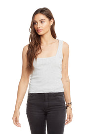 Chaser Baby Rib Square Neck Tank in Heather Grey
