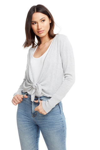 Chaser Tie Front Cardigan in Grey