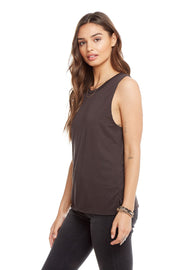 Chaser Vintage Jersey Side Slit Tank in Washed Black