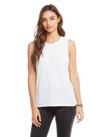 Chaser Vintage Jersey Side Slit Tank in White