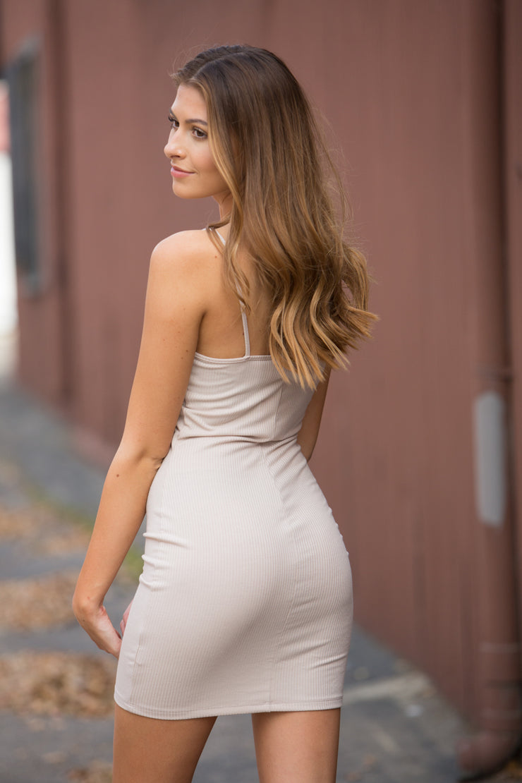 CJ Cruz Hold Me Closer Dress in Tan