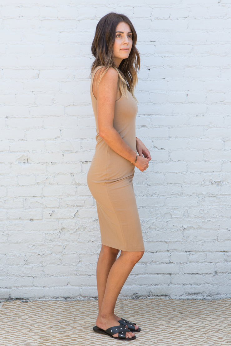 CJ Cruz Kai Midi Dress in Camel