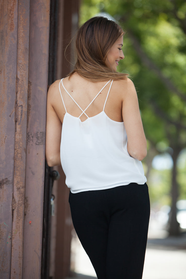 CJ Cruz Scalloped Tank in White