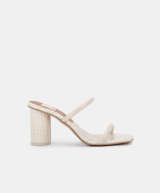 Dolce Vita Noles in Ivory Patent Croc