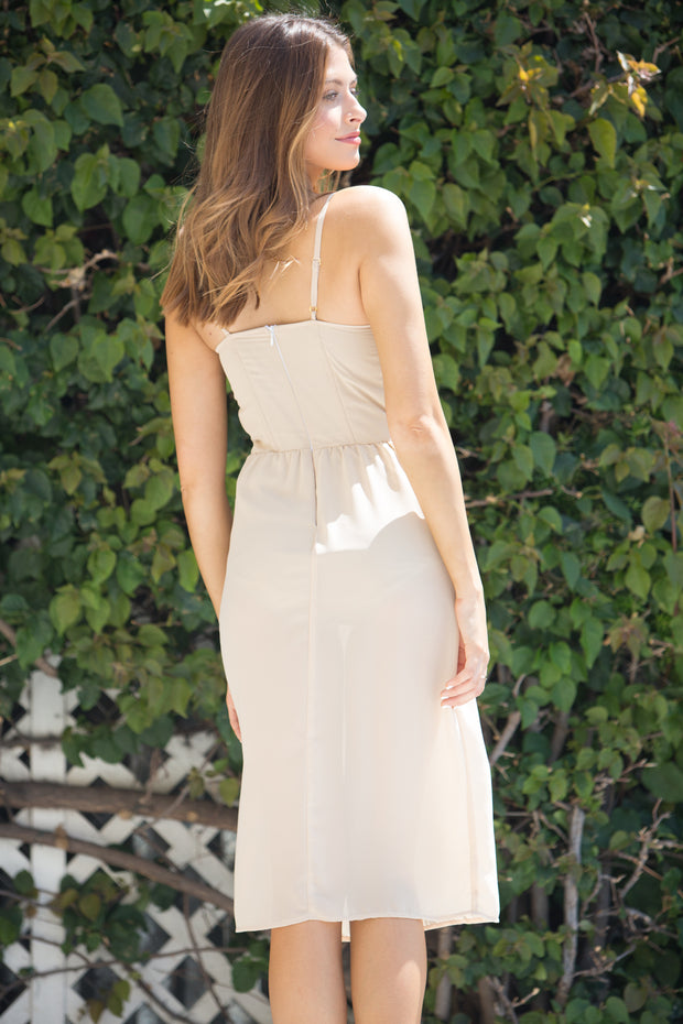 East N West Label Della Dress in Nude