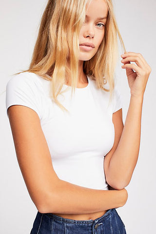 Free People Cap Sleeve Seamless Crop in White