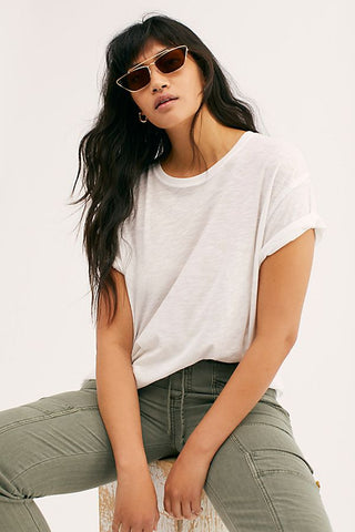 Free People Clarity Ringer Tee in White