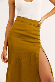 Free People Lola Slit Skirt in Moss