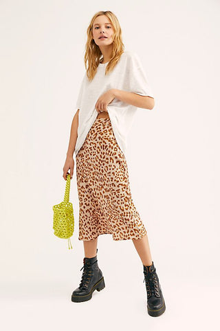 Free People Normani Bias Skirt in Leopard