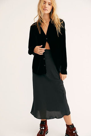 Free People Normani Bias Skirt in Black