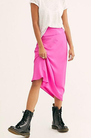 Free People Normani Bias Skirt in Bubblegum