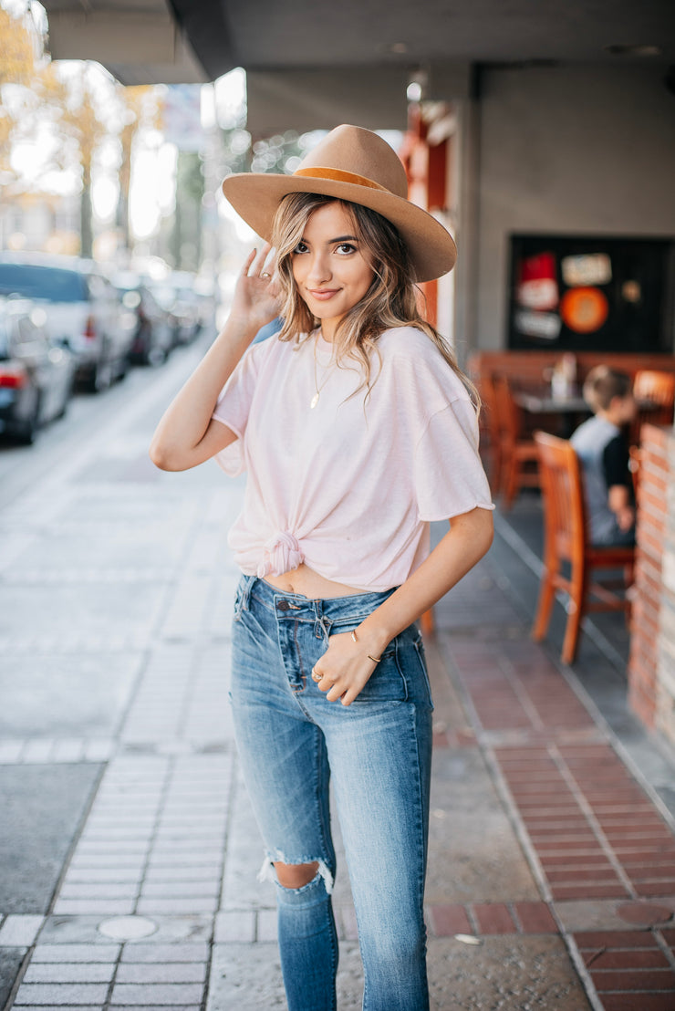 Free People Clarity Ringer Tee in Pink