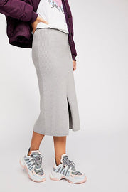 Free People Skyline Midi Skirt in Light Grey