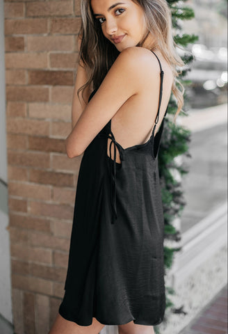 Free People Smooth Sailin' Mini Slip Dress in Black
