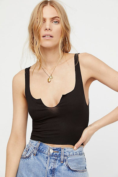 Free People Top Notch Crop in Black