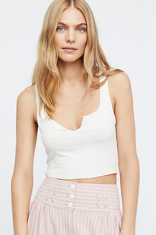 Free People Top Notch Crop in White