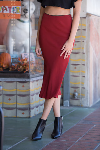 Guild Autumn Midi Skirt in Crimson