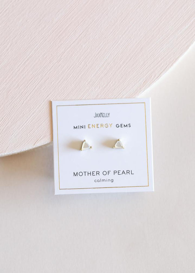 Jax Kelly Mother of Pearl Mini Energy Gem Earrings