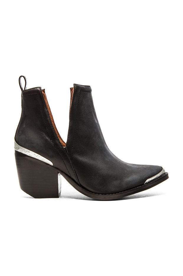 Jeffrey Campbell Cromwell Bootie in Black Distressed Leather