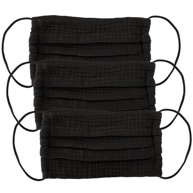 Kitsch Cotton Face Mask in Black-3 Piece Set